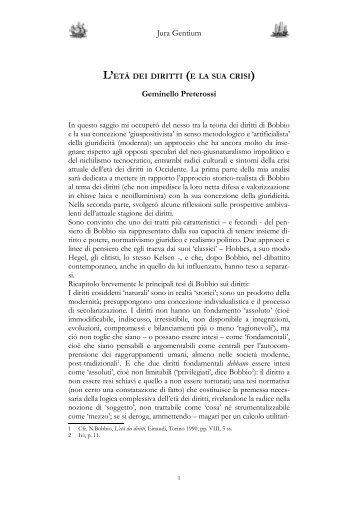 L'età dei diritti (e la sua crisi) - Jura Gentium