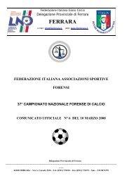 comunicato ufficiale n°6 - FIGC Ferrara