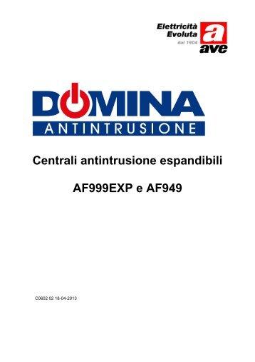 Centrali antintrusione espandibili AF999EXP e AF949 - Ave