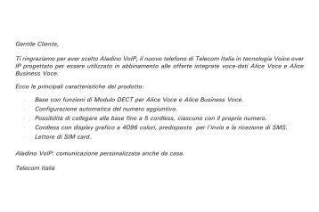 Manuale d'uso Aladino VoIP - Telecom Italia