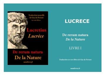 LUCRECE De rerum natura De la Nature