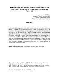 ANÁLISE DA PLASTICIDADE E DO TEOR DE BORRACHA SECA ...
