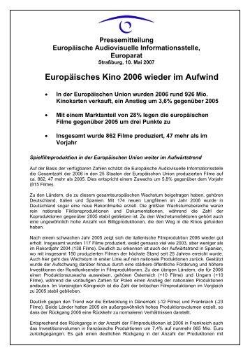 Europäisches Kino 2006 wieder im Aufwind - MEDIA Desk ...