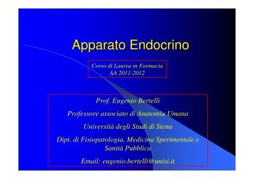 Apparato Endocrino - Farmacia - Università degli Studi di Siena
