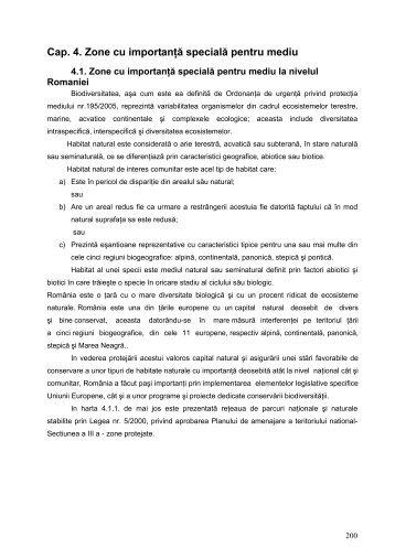 Cap. 4. Zone cu importanţă specială pentru mediu