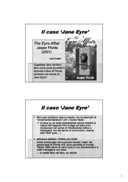 Il Caso Jane Eyre Università Degli Studi Di Teramo