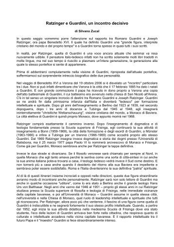 Ratzinger e Guardini, un incontro decisivo - Confederazione dell ...