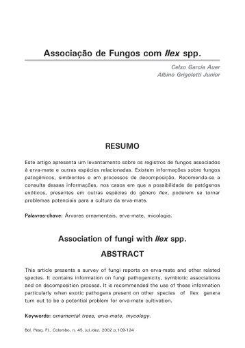 Associação de fungos com Ilex spp. Auer, C. G. - Embrapa Florestas