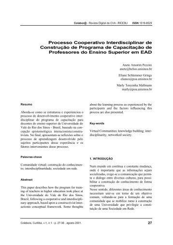 Processo Cooperativo Interdisciplinar de Construção de Programa ...