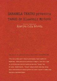 SARABELA TEATRO presenta TANGO de Slawomir Mrózek