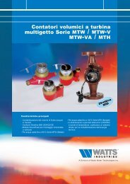 Contatori volumici a turbina multigetto Serie MTW ... - Watts Industries