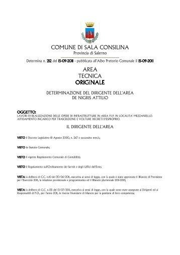 COMUNE DI SALA CONSILINA AREA TECNICA ORIGINALE ...