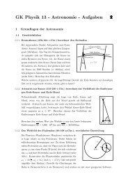 GK Physik 13 - Astronomie - Aufgaben - am Werdenfels-Gymnasium