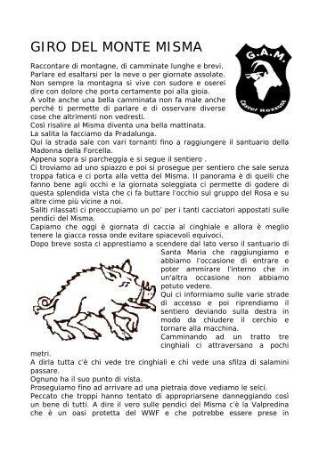 GIRO DEL MONTE MISMA - Gruppo Amici della Montagna di Castel ...