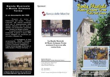 Depliant di presentazione della Banda Musicale (pdf 1.10Mb)