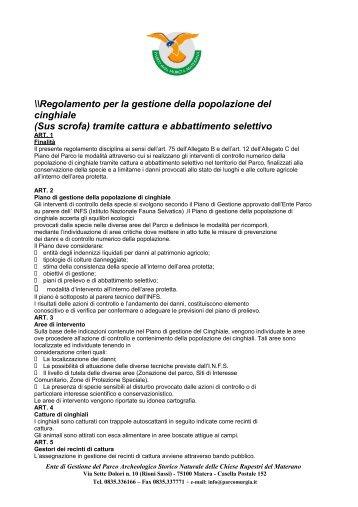 Regolamento del piano di gestione della popolazione di cinghiali in ...