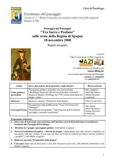 Report completo dell'iniziativa - Ecomuseo e Agenda 21 Parabiago