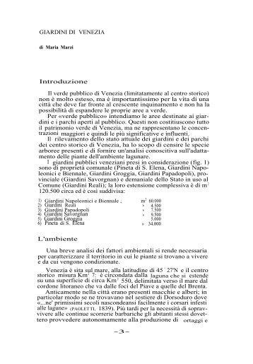Giardini di Venezia - Istituto Veneto di Scienze, Lettere ed Arti