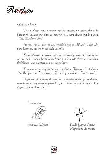 Menús para bodas 2013 con logo sin precios - Hotel Recoletos Coco