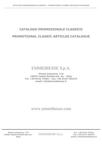 catalogo promozionale classico EMMEBIESSE - EMMEBIESSE SpA