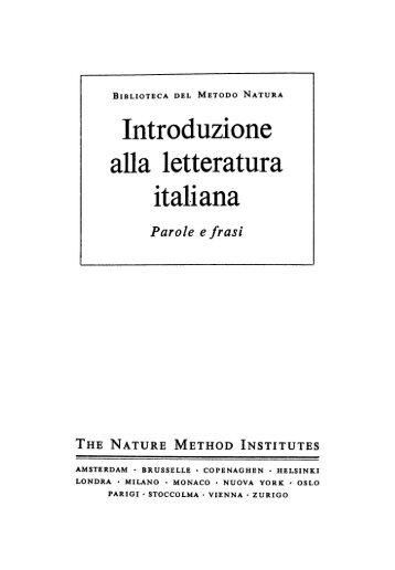 Introduzione alla letteratura italiana. Parole e frasi