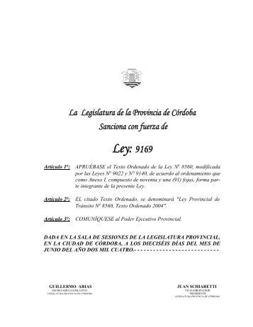 Ley: 9169 - Gobierno de la Provincia de Córdoba