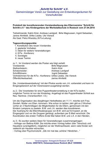 Protokoll der konstituierenden Vorstandssitzung des Elternvereins ...