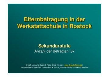 Sekundarstufe-Quantitative Auswertung - Werkstattschule in Rostock