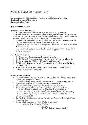 Protokoll der Schulkonferenz vom 23.01.07 - Werkstattschule in ...