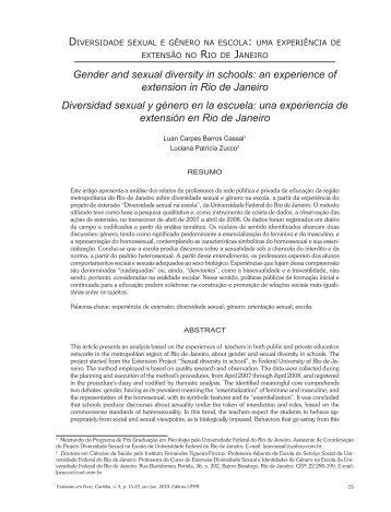 ZUCCO, L.P. Diversidade sexual e gênero na escola