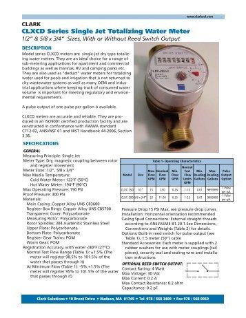 CLXCD Series Single Jet Totalizing Water Meter - Clark Solutions