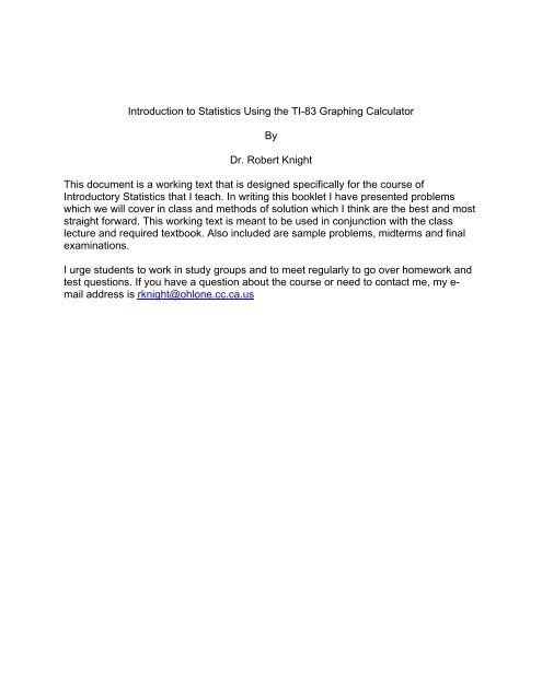Using a TI-83 in Statistics - Ohlone College