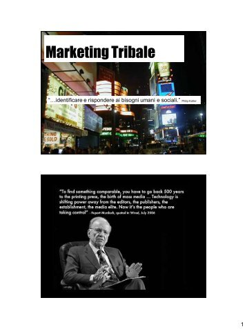 Marketing Tribale - Dipartimento di Comunicazione e Ricerca Sociale