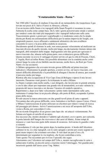 Il metanodotto Vasto - Roma. - associazione pionieri e veterani eni