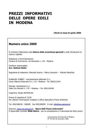 prezzi informativi delle opere edili in modena - Camera di ...
