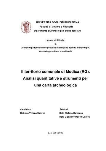 Il territorio comunale di Modica (RG). Analisi quantitative e strumenti ...
