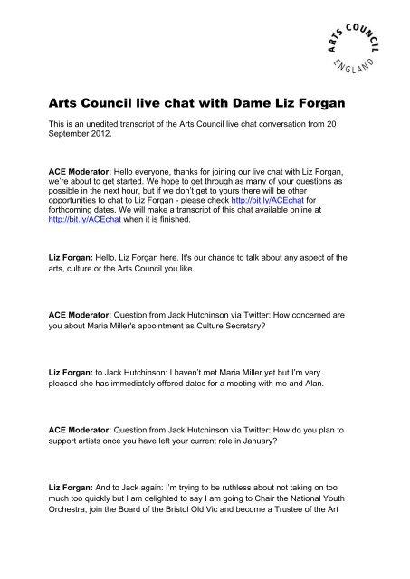 Download the live chat transcript - Arts Council England