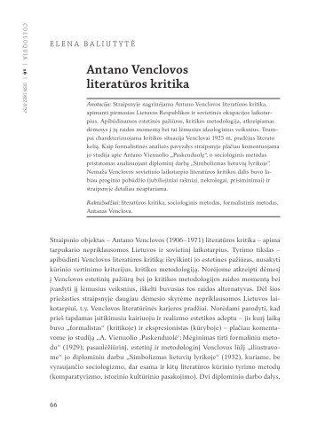Antano Venclovos literatūros kritika - Lietuvių literatūros ir ...