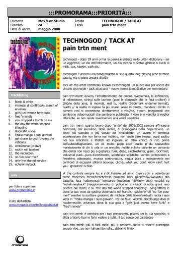 TECHNOGOD / TACK AT pain trtn ment - Promorama