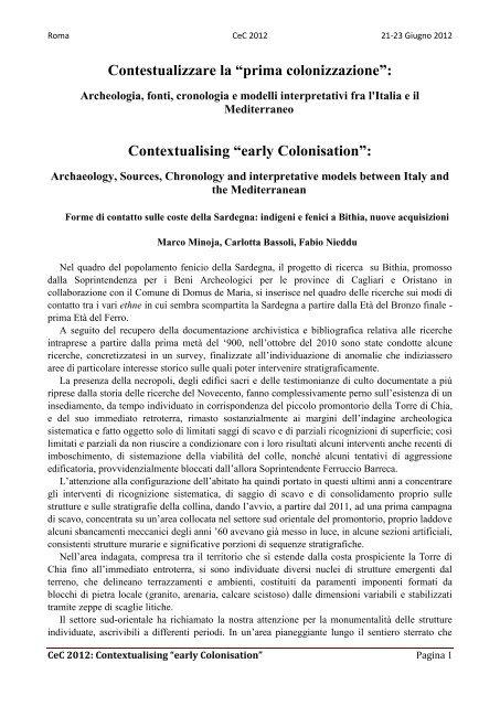 M. Minoja, C. Bassoli, F. Nieddu - Academia Belgica