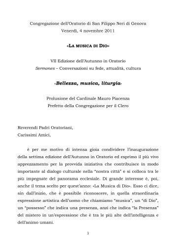 testo - Confederazione dell'Oratorio di San Filippo Neri