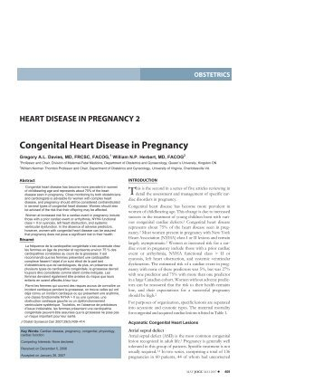 Congenital Heart Disease in Pregnancy - JOGC