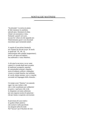 NOSTALGIE MATINESI - Capurso online