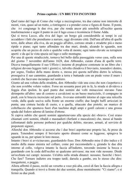 RIASSUNTO PROMESSI SPOSI CAPITOLI 1   APPUNTI