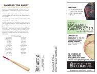 BASEBALL CAMPS 2013 - University of St. Francis Athletics