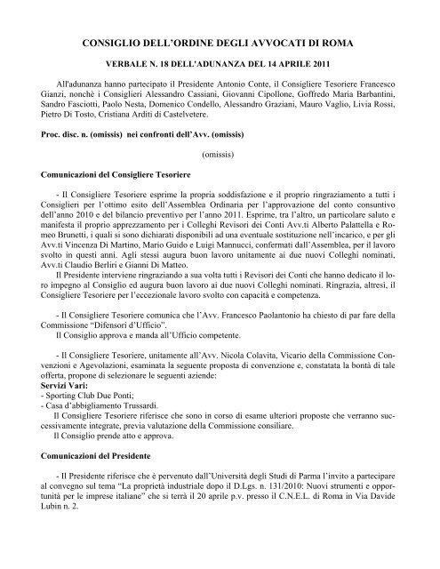 14 Aprile 2011 N 18 Doc Ordine Degli Avvocati Di Roma
