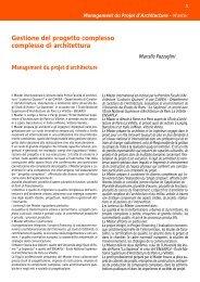 Gestione del progetto complesso complesso di architettura - Sapienza