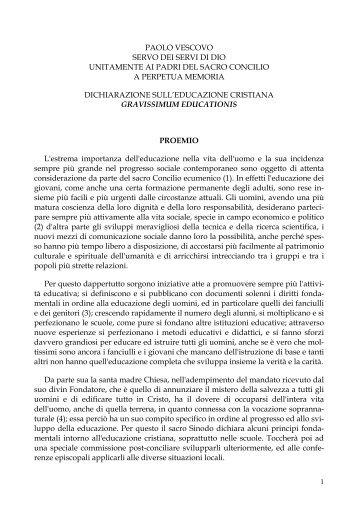 concilio vaticano ii, dichiarazione sull'educazione cristiana - Scuola ...
