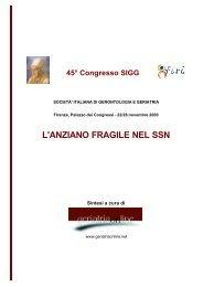 L'ANZIANO FRAGILE NEL SSN - Geriatriaonline