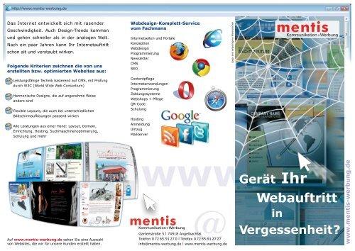 Gerät Ihr Webauftritt in Vergessenheit? -  mentis Werbung